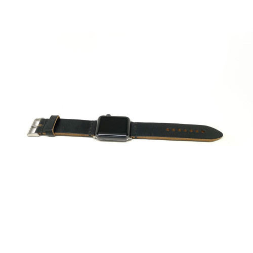 Leather Apple Watch Strap - Black Chromexcel (Thick)