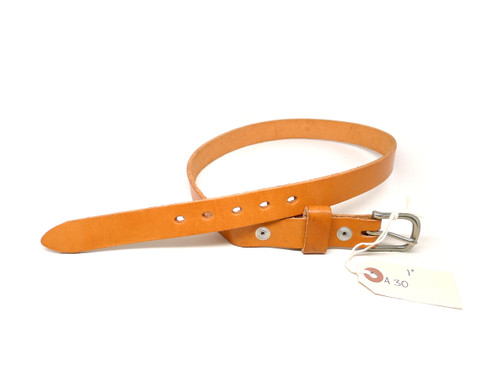 """Handmade 1"""" Leather Belt Size 30 - Natural (A)"""