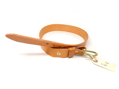 "Handmade 1 1/2"" Leather Belt Size 30 - Natural (G)"