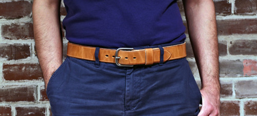"Handmade 1 1/2"" Leather Belt Size 30 - Natural (I)"