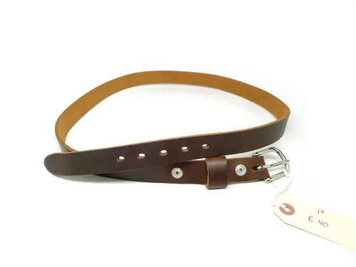 "Handmade 1"" Leather Belt Size 40 - Brown Chromexcel (E)"
