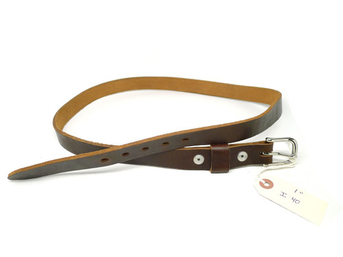 "Handmade 1"" Leather Belt Size 40 - Brown Chromexcel (I)"
