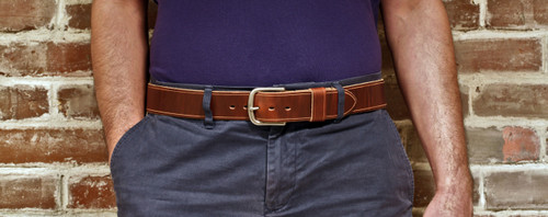 "Handmade 1"" Leather Belt Size 40 - Brown Chromexcel (J)"
