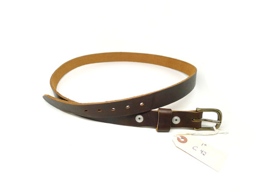 "Handmade 1"" Leather Belt Size 42 - Brown Chromexcel (C)"