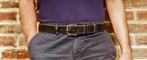 "Handmade 1"" Leather Belt Size 40 - Black Chromexcel (H)"