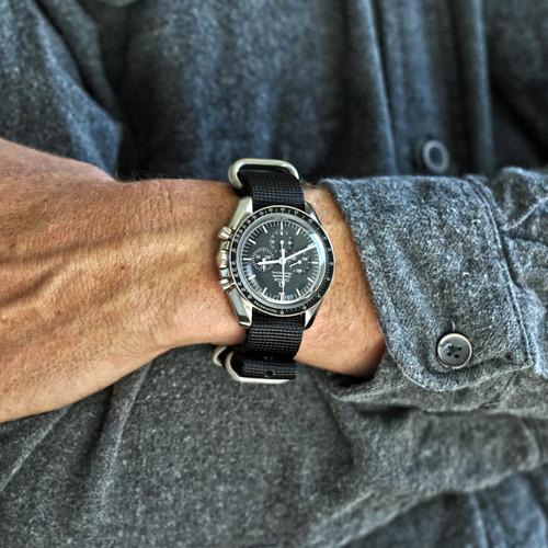Ballistic Nylon Military Watch Strap - Black (Matte Buckle)