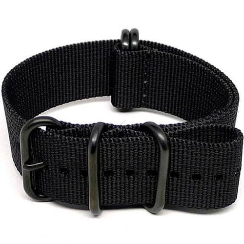 Ballistic Nylon Military Watch Strap - Black (PVD Buckle)