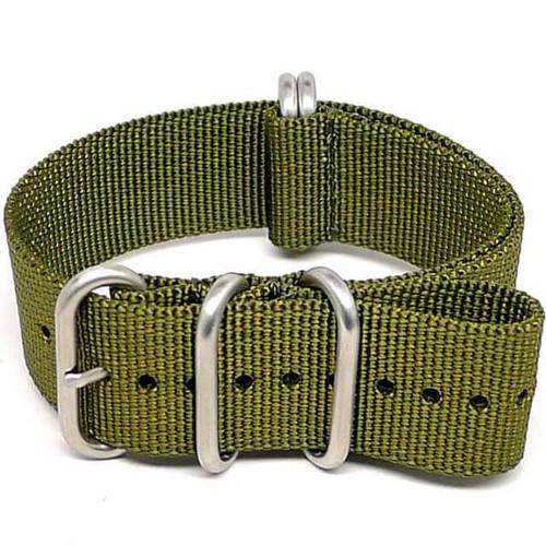 Ballistic Nylon Military Watch Strap - Olive (Matte Buckle)