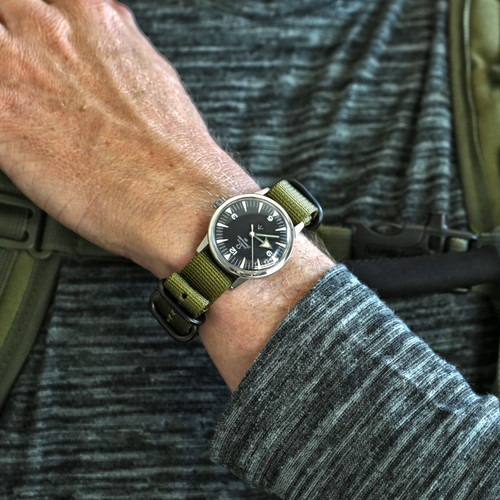 Ballistic Nylon Military Watch Strap - Olive (PVD Buckle)