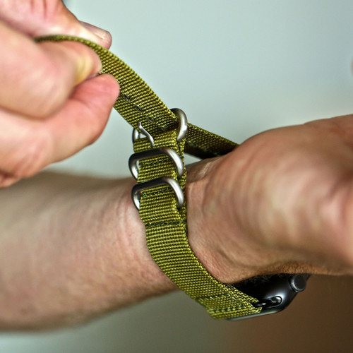 Two Piece Ballistic Nylon Watch Strap - Olive