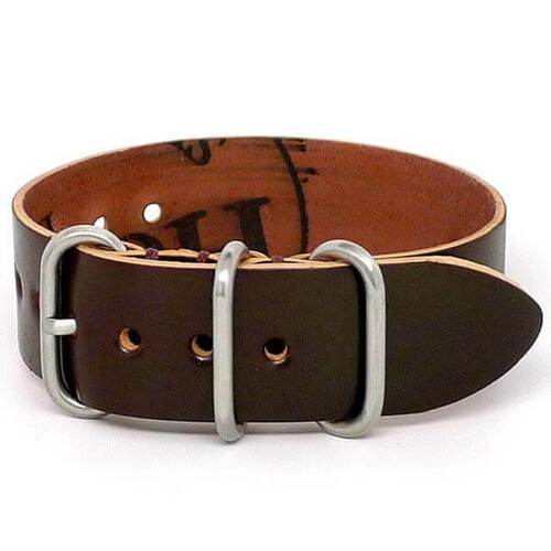 Shell Cordovan 1 Piece Military Leather Watch Strap - Color 8 (Matte Buckle)
