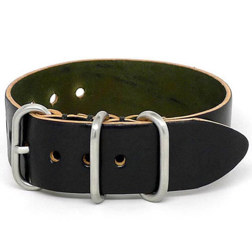Shell Cordovan 1 Piece Military Leather Watch Strap - Black (Matte Buckle)