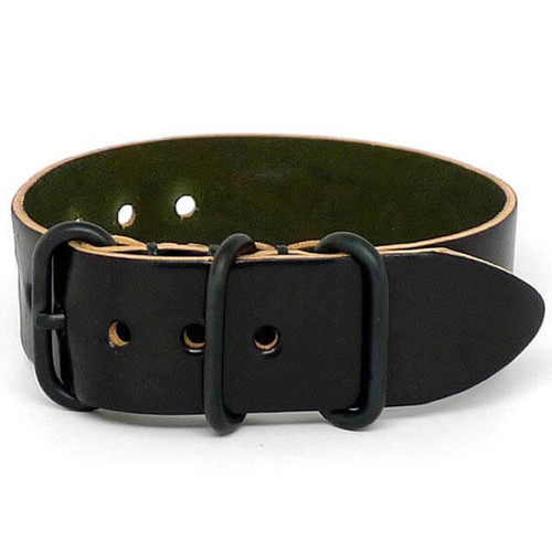 Shell Cordovan 1 Piece Military Leather Watch Strap - Black (PVD Buckle)