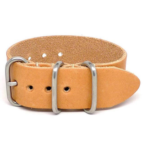 1 Piece Military Leather Watch Strap - Natural Essex (Matte Buckle)
