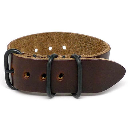 1 Piece Military Leather Watch Strap - Brown Chromexcel (PVD Buckle)