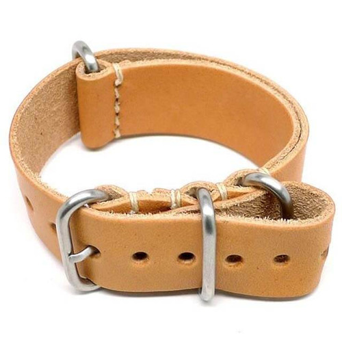 Military Leather Watch Strap - Natural Essex (Matte Buckle)