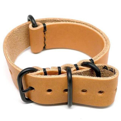 Military Leather Watch Strap - Natural Essex (PVD Buckle)
