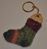 Wooden Mini Sock Blocker Key ring and Mini Sock Pattern + yarn (optional)