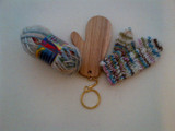 Wooden Mini Mitten Blocker Key ring and Mini Mitten Pattern + yarn (optional)