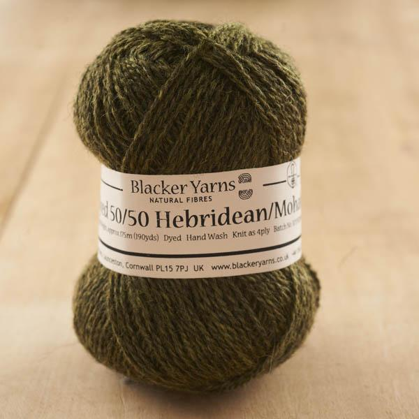 Hebridean/Mohair Olive over-dyed 4-ply knitting yarn