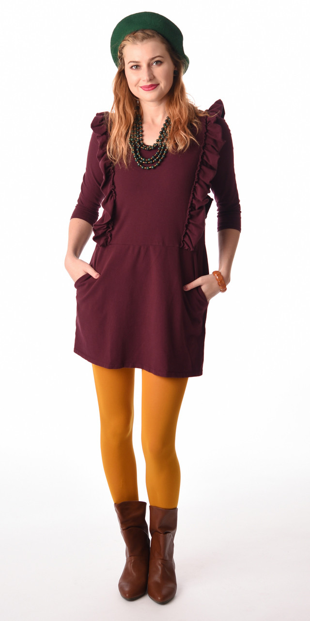 733fb73dac6a Loose plum ruffle sleeved knit pockets dress