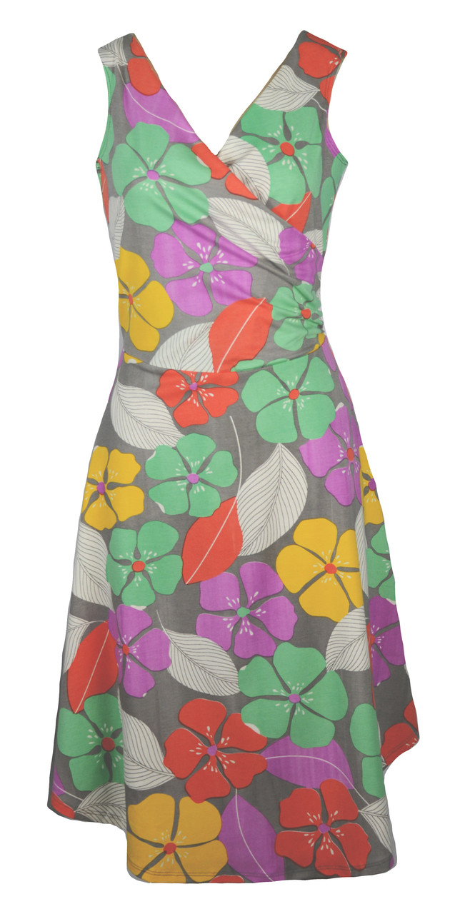 a72cde84f936d Gray yellow green red purple festive floral sleeveless surplice knit wrap  dress