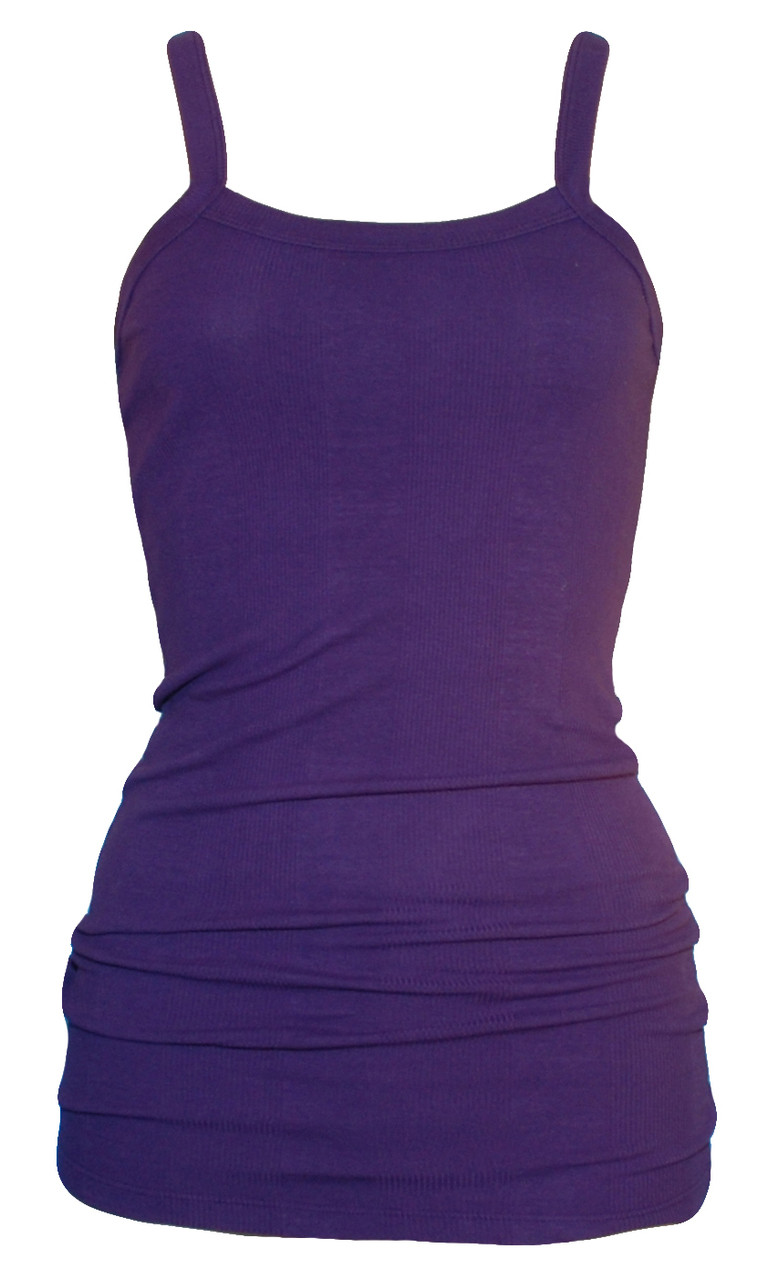 d64880cfb20b60 Extra Long Cotton Layering Tank in Deep Purple