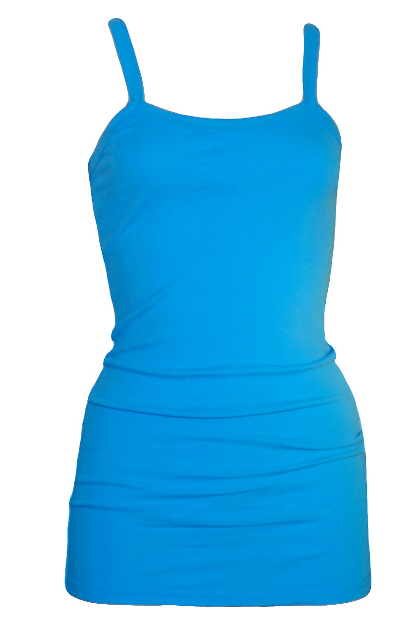 ac7d9f81819a2 Extra Long Ribbed Cotton Layering Tank in Bright Azure Sky Blue