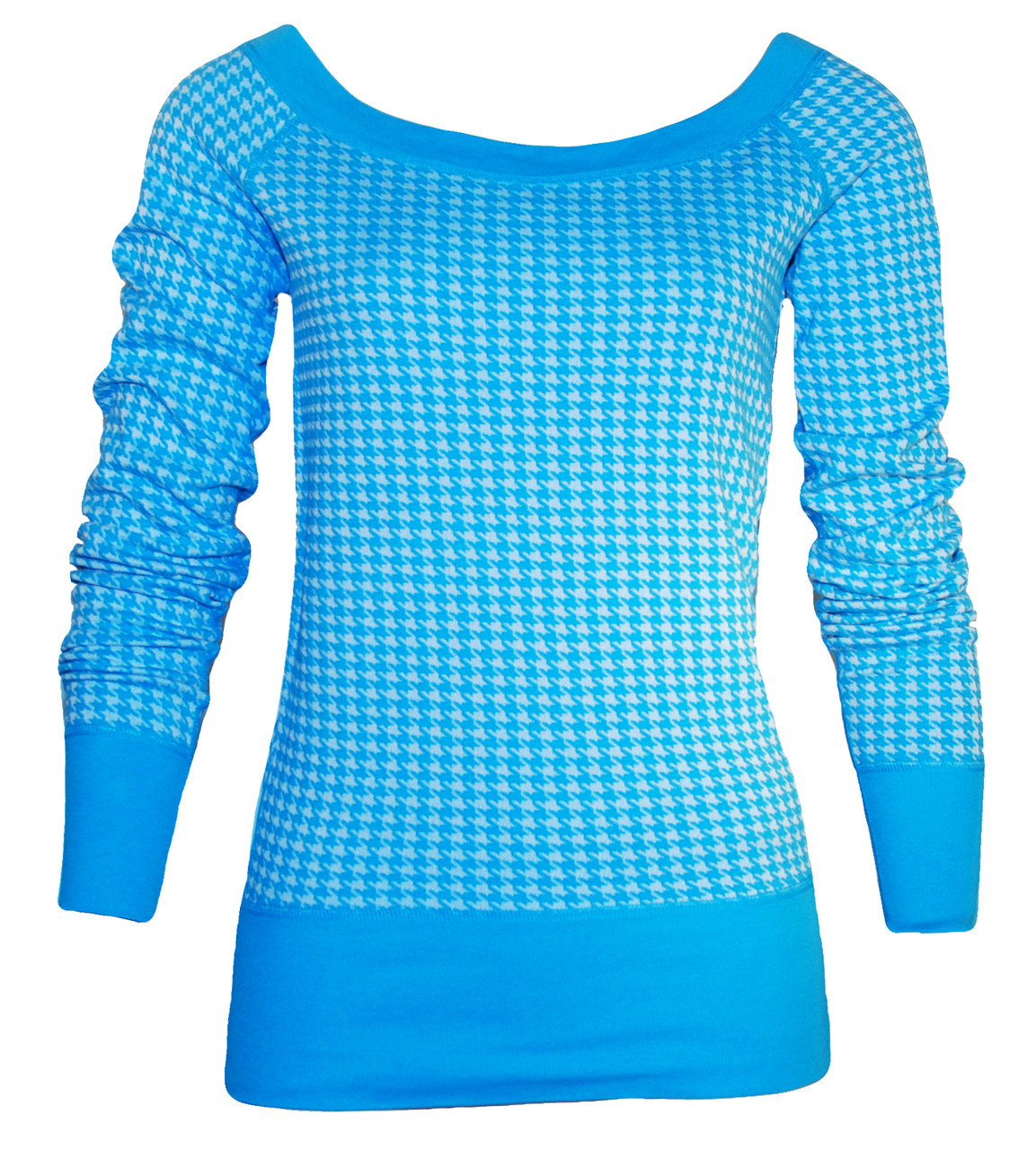 ea45277aecfb7 Bright blue houndstooth long sleeve scoop neck pullover top