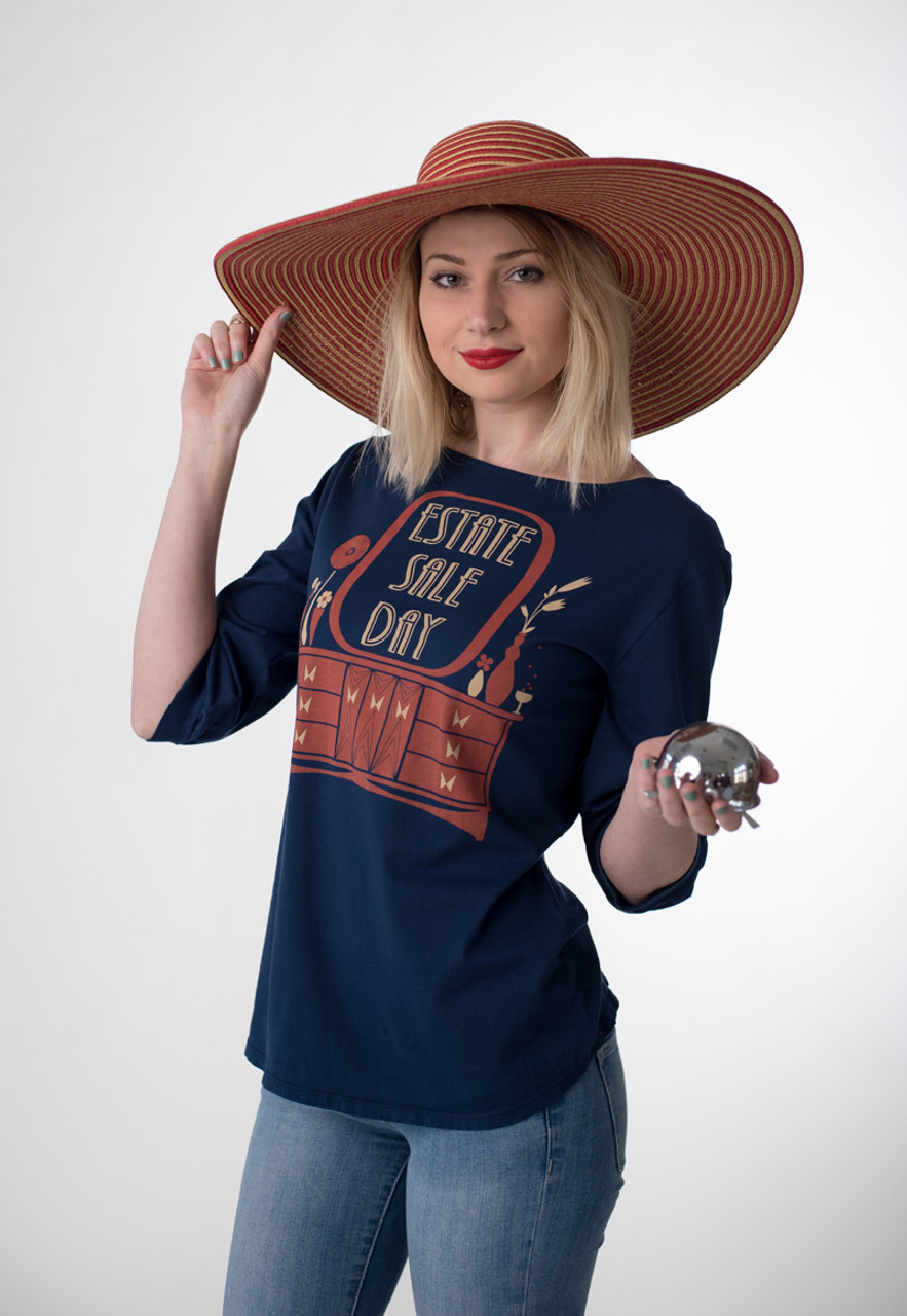 29c7d31308 Navy white red estate sale day graphic boatneck 3 4 sleeve tee