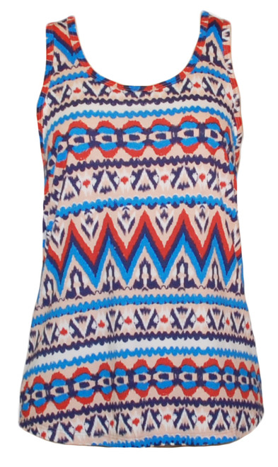 76ce14a9892ce Blue red white ethnic ikat print tank top