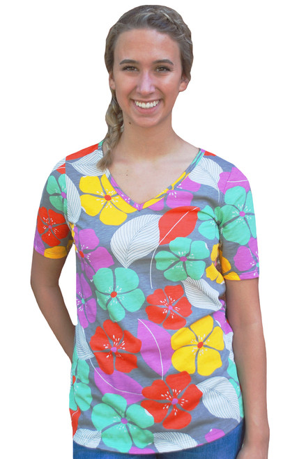 74871851 Grey red yellow green purple yellow white tropical floral v-neck tee top  tshirt