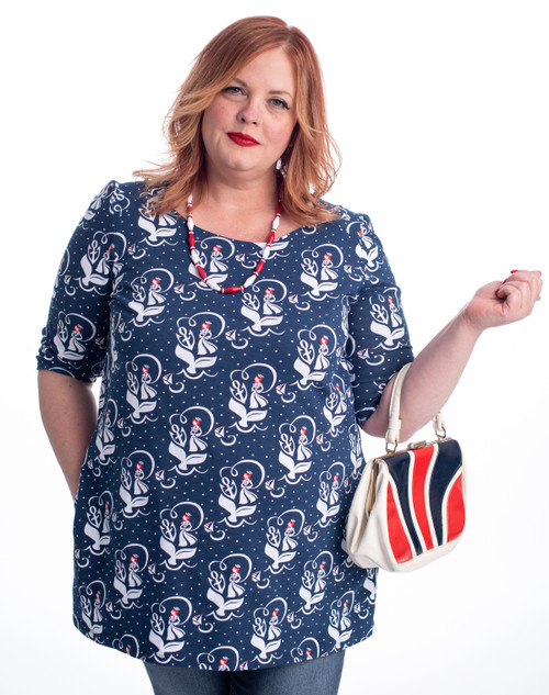 97ebeca1d69 Navy red white nautical sailor girl print pocket tunic