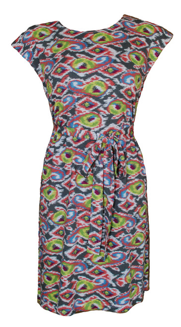 3913abb9d9414 Multi colored grey pink yellow green paisley ethnic print knit belted tunic  dress