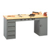 Tennsco Electronic Modular Work Bench, Maple Top w/1 4-drawer unit, 1 shelf cabinet & outlet panel