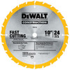 "DeWalt Construction Saw Blade 10"" x 24T"