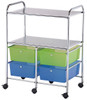 Alvin Storage Cart, 4-Drawers with 2-Shelf Multi-Colored