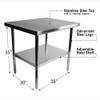 "Diversified Woodcrafts Stainless Steel Table, 36""W x 30""D x 35""H"