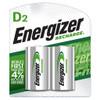 Energizer Rechargeable Ni-Mh Batteries, D, 2/pkg.
