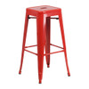 """CEF Stackable Industrial Metal Stool, Red 24""""H DISCONTINUED"""