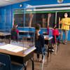 "Deflecto Portable Classroom Desktop Barrier, Bent Edge, 22""W x 16""Dd x 24""H"