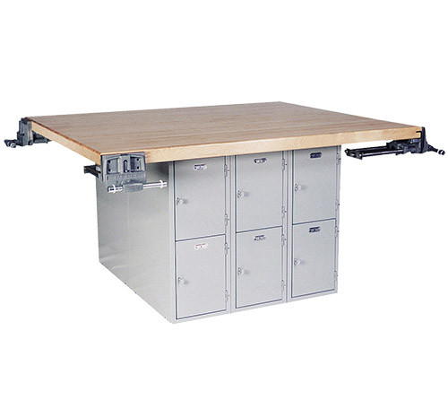"""Midwest 4-Station Work Bench with 12 Lockers and 4 Wilton Vises (7"""")"""
