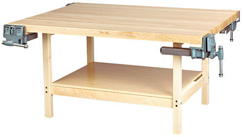 """Diversified Woodcrafts Open-Style Work Bench 4 Station with 4 Wilton Vises (7"""")"""