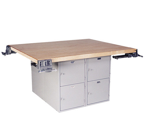 """Midwest 4-Station Work Bench with 8 Lockers and 4 Wilton Vises (7"""")"""