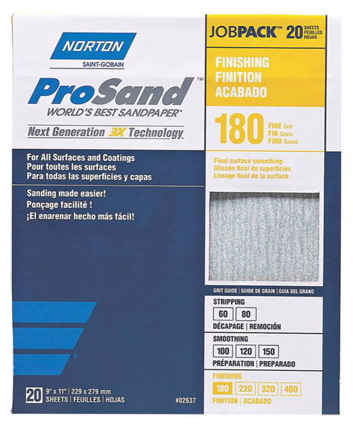 "Norton ProSand Premium Sandpaper, 9"" x 11"", 180 Grit"