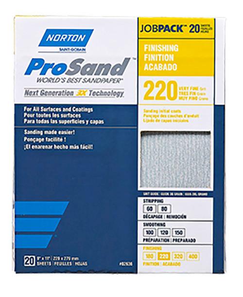 "Norton ProSand Premium Sandpaper, 9"" x 11"", 220 Grit"