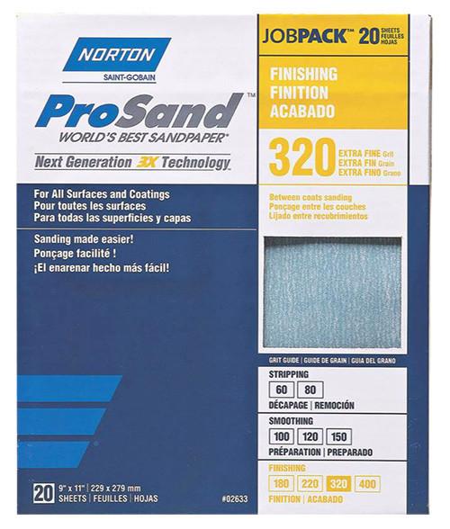 "Norton ProSand Premium Sandpaper, 9"" x 11"", 320 Grit"