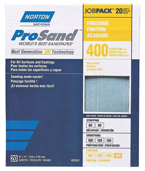 "Norton ProSand Premium Sandpaper, 9"" x 11"", 400 Grit"