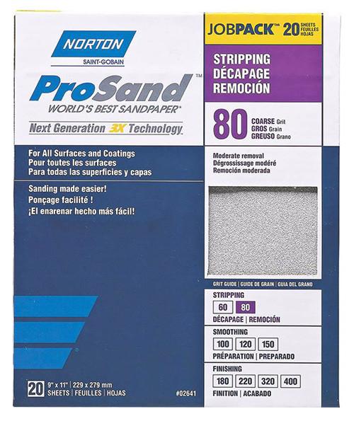 "Norton ProSand Premium Sandpaper, 9"" x 11"", 80 Grit"