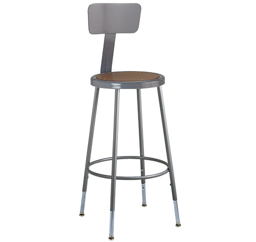 """Krueger Industrial Masonite Seat Stool with Backrest, Adjustable-Height, 25"""" to 33"""""""